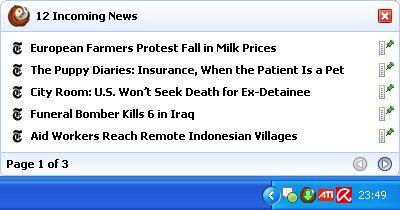 RSSOwl screenshot: notifier