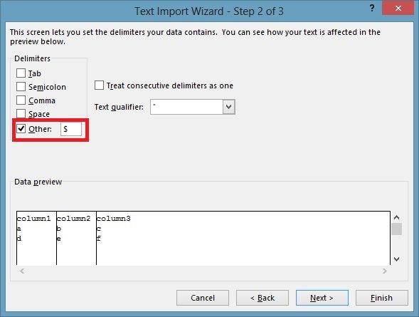 Excel custom delimiter