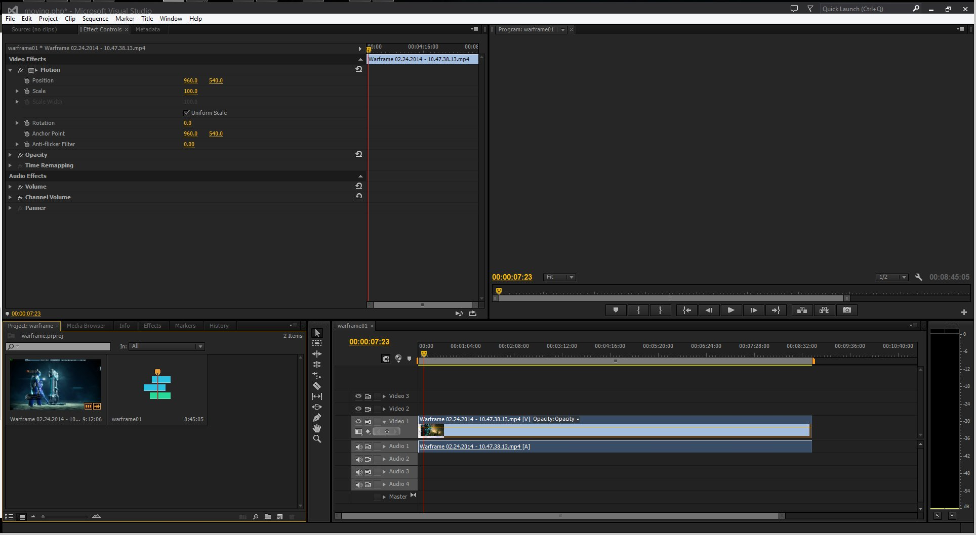 Effect Controls, Preview video\Source files, Timeline