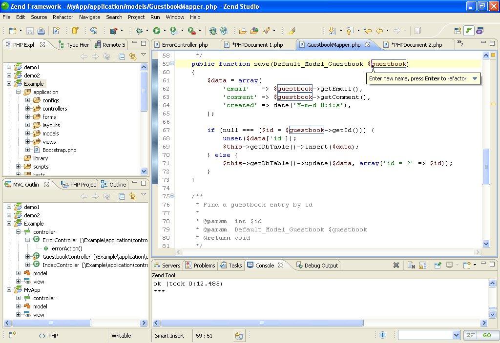 Screenshot of Zend Studio in action.